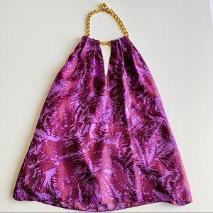 MILLY Purple Silk Halter Top w/ Gold Chain Neck